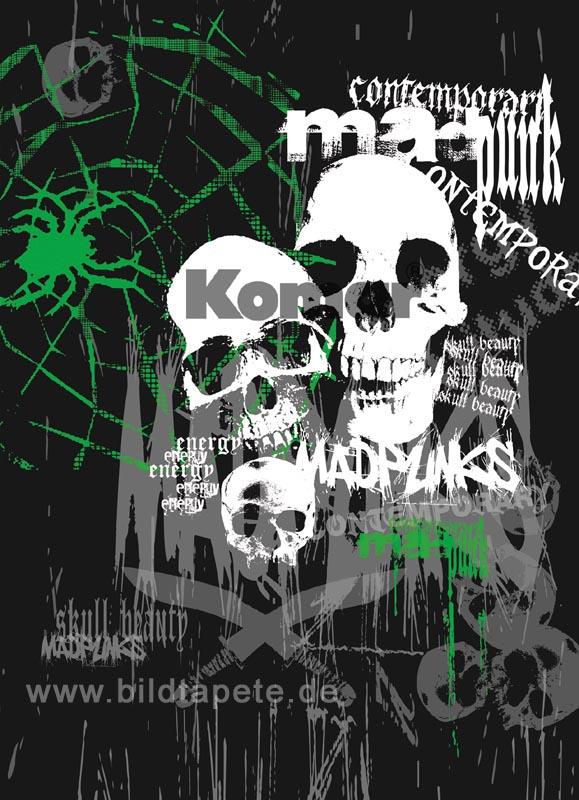 CONTEMPORARY, zeitgenössische Grafik mit Spinnen und Totenkopf - bei Klick zurück zur Motivübersicht