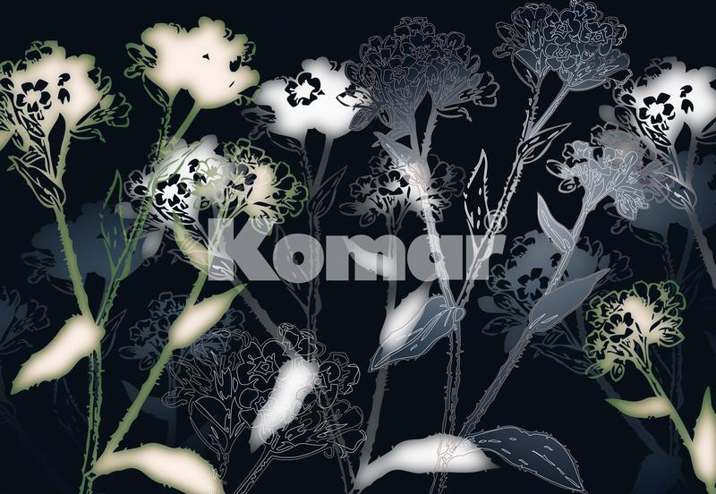 BELLEZZA, helle, grafische Blumen auf dunklem Grund - bei Klick zurück zur Motivübersicht