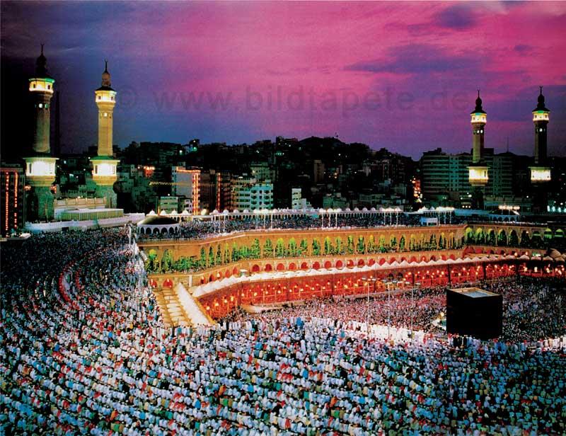 Mekka, nächtliches Gebet an der Kaaba - bei Klick zurück zur Motivübersicht