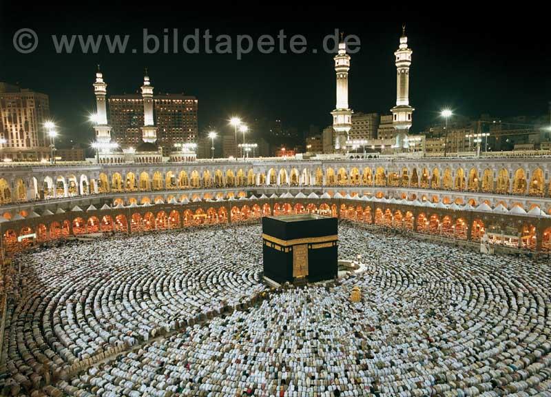 Kaaba at Night, Innenhof bei Nacht - bei Klick zurück zur Motivübersicht
