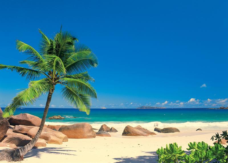 Seychellen Insel La Digue, blauer Himmel, weißer Strand - bei Klick zurück zur Motivübersicht