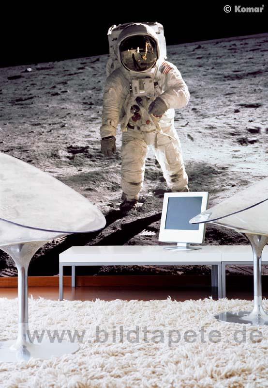 MAN ON THE MOON, Originalfoto von Neil Armstrong: Buzz Aldrin beim Mondspaziergang im Mare Tranquillitatis - bei Klick zurück zum Motiv MAN ON THE MOON