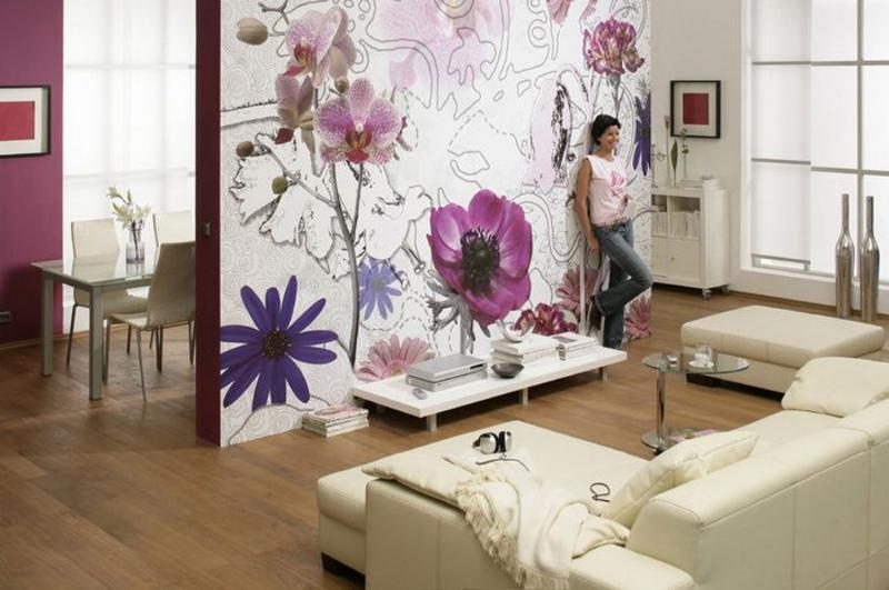Motivbeispiel violet Flowers, frische Atmosphaere im Wohnbereich - bei Klick  zur Artikelbeschreibung