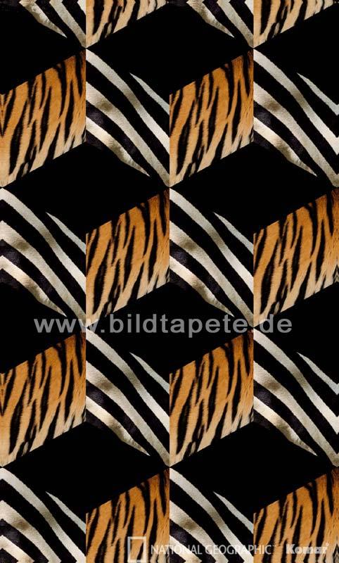 OPART - grafische Muster im 60er Jahre Stil mit Tiger- und Zebrafell - bei Klick zurück zur Motivübersicht