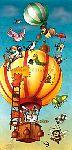 Kindertapete Cartoon Tierballon - bei Klick Artikelbeschreibung