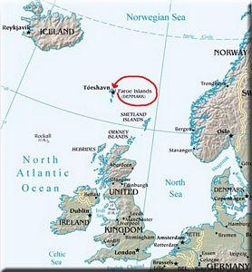 Kartenausschnitt Nordatlantik: Føroyar Islands zwischen Schottland und Island