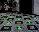 grüne LED-Pflastersteine vor dem Hauseingang.